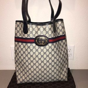 Authentic Gucci shopper tote purse satchel bag